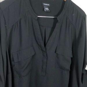 torrid Tops - Torrid Silky Black Tunic 3/4 Sleeves Plus Size